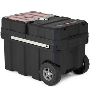 Keter Masterloader Resin Rolling Tool Box Organizer with Lockable Compartment and Removable Bins