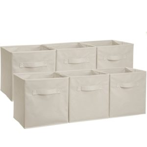 AmazonBasics Collapsible Fabric Storage Cubes Organizer with Handles, Beige