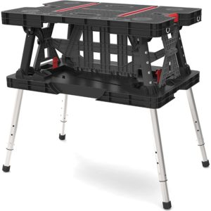 Keter Folding Compact Adjustable Workbench Sawhorse Work Table with Clamps