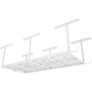 FLEXIMOUNTS 4x8 Overhead Garage Storage Rack w/Hooks Adjustable Ceiling Storage Racks