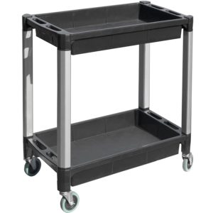 MaxWorks 80384 Black and Gray Two-Tray Service/Utility Cart With Aluminum Legs