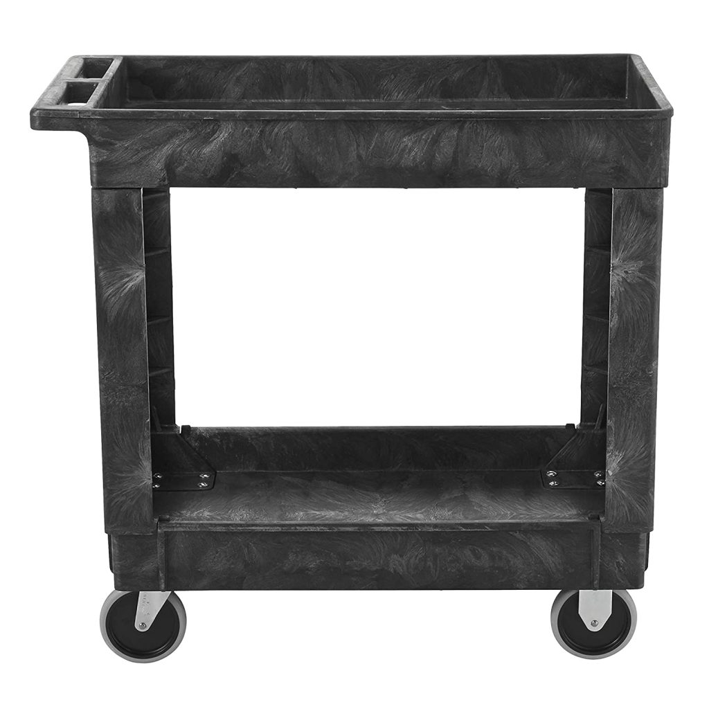 Rubbermaid Commercial Service/Utility Cart, Two-Shelf, 300 lb capactiy, Black (FG9T6600BLA)