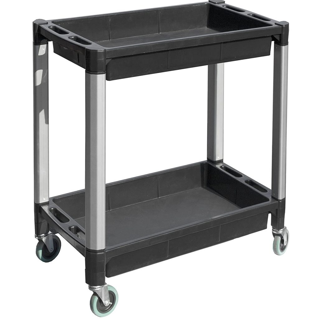 """MaxWorks 80384 Black and Gray Two-Tray Service/Utility Cart With Aluminum Legs And 4"""" Diameter Swivel Castors"""