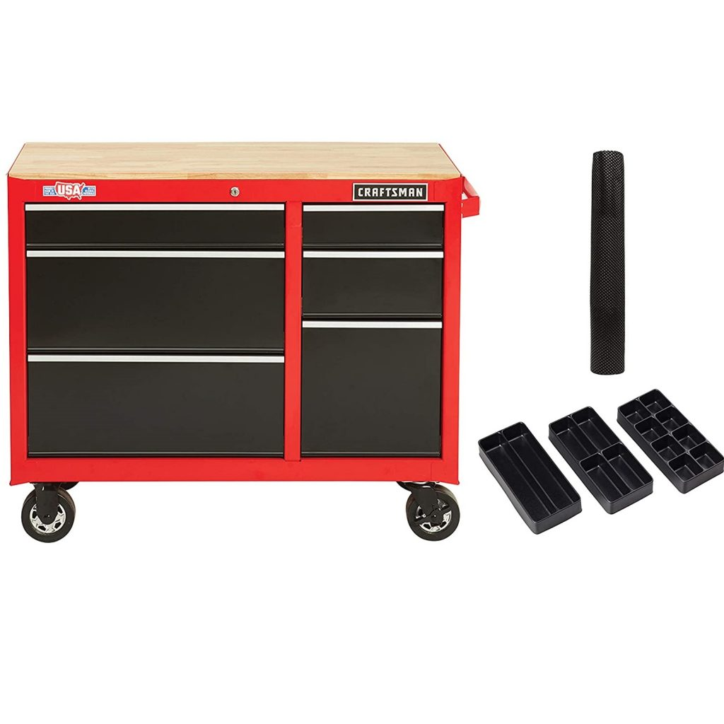 CRAFTSMAN Workbench with Drawer Liner Roll/Tray Set, 41-Inch, Rolling,, 6 Drawer, Red (CMST82777RB)