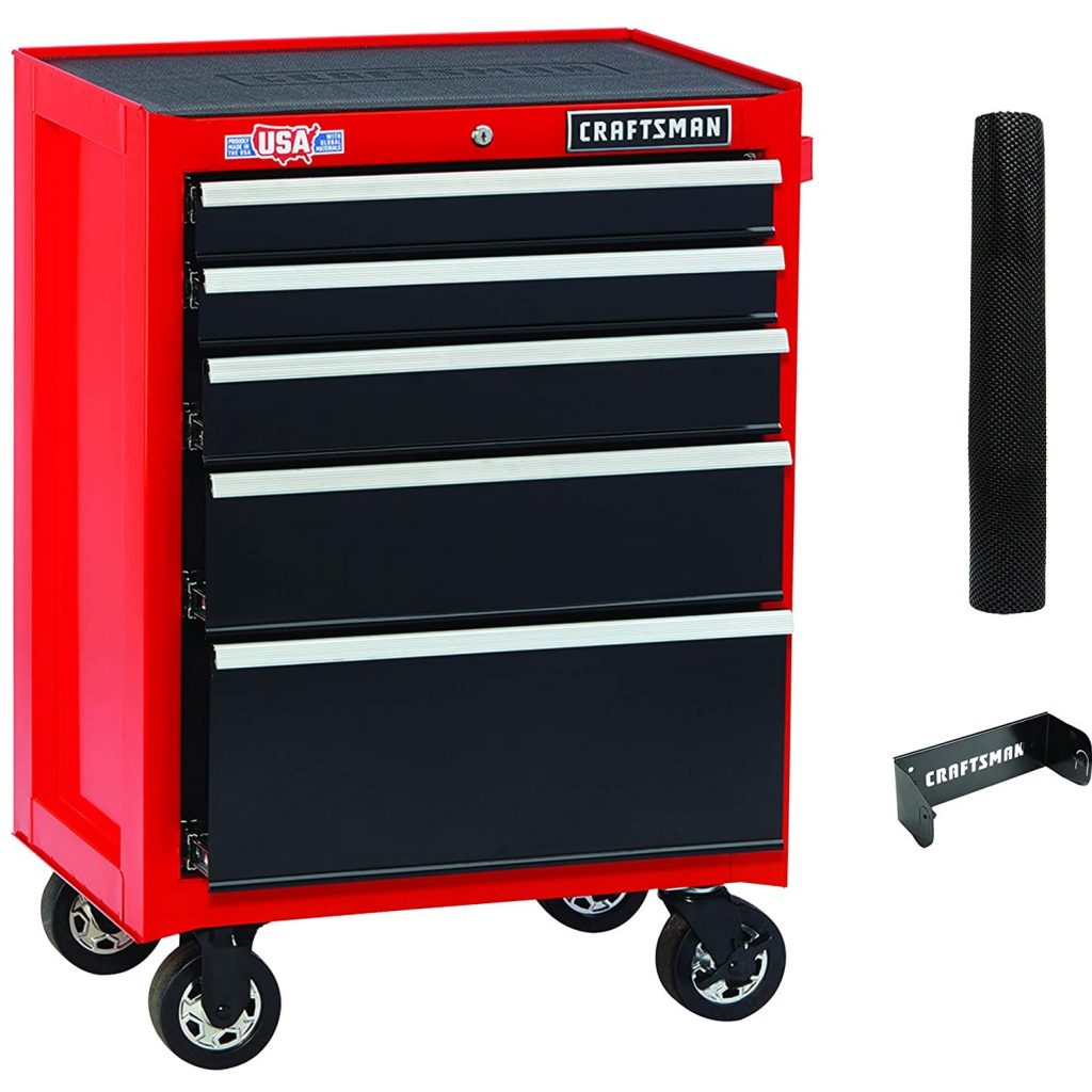 CRAFTSMAN Tool Cabinet with Drawer Liner Roll & Paper Towel Holder, 26-Inch, Rolling,, 5 Drawer, Red (CMST82769RB)