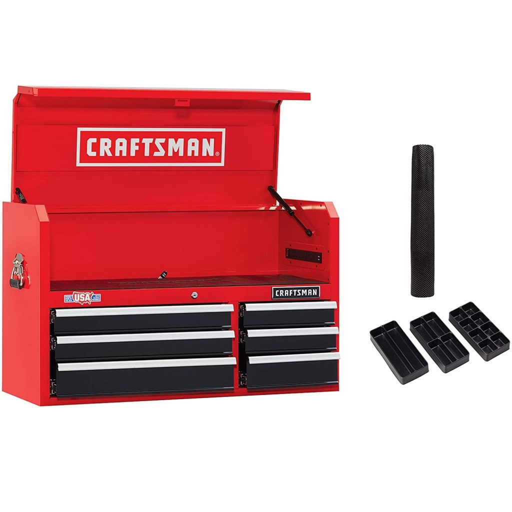 CRAFTSMAN Tool Chest with Drawer Liner Roll/Tray Set, 41-Inch, 6 Drawer, Red (CMST82771RB)